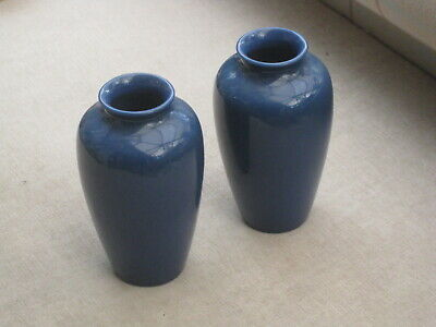 Pair Of Rookwood Art Pottery 8'' Blue Vases W E Bahl 50th Anniversary • 39.99£