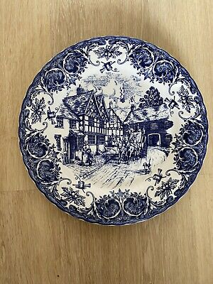 Staffordshire Dinner Plate. Blue And White Scene. • 1.70£