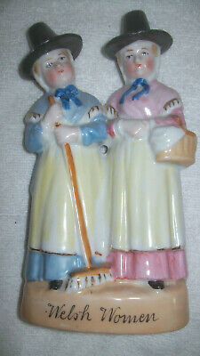 Vintage Ceramic Figurine Ornament Two Welsh Ladies Traditional Dress Hats BiN • 15.90£