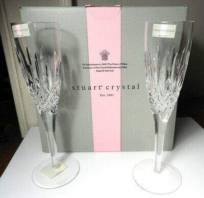 STUART Crystal MADISON Champagnes Flutes, Pair, Made In Ireland, New In Box • 74.70£