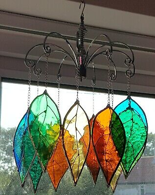 10x Leaf Green Amber Turquoise Stained Glass Suncatcher Free Hanging Display New • 100£