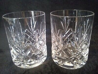 Two Lovely Quality Heavy Lead Crystal Whisky Glasses • 10.99£
