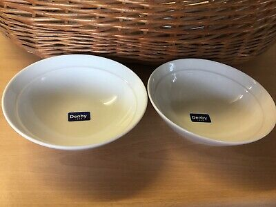 Denby White Cereal Bowls X 2 Diameter 18cm. New • 14.99£
