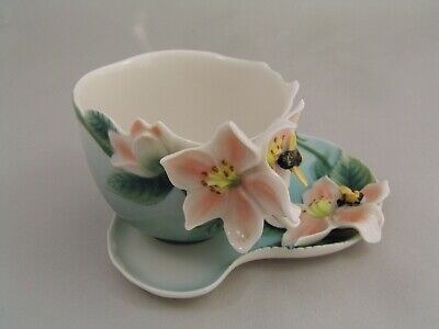 Franz Porcelain Bumble Bee Cup And Saucer, Fz00036. • 34.99£