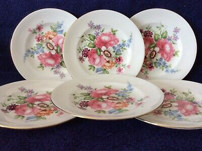 Set Of Six Crown Staffordshire Floral Pattern Snacking Plates With Gilt Edge • 18£