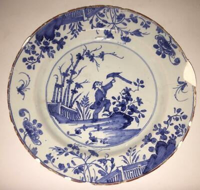 18th C English Liverpool Delft Chinoserie Plate Painted With Man & Coromandel • 79.99£