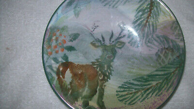 Beautiful Tain Pottery Scotland Hand Painted Struie Stag Bowl / Dish Bargain BiN • 15.99£