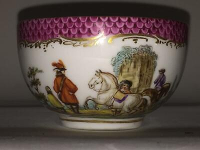 Exquisite Antique Meissen Cup Hand Painted With Equestrian Scene C 1825+ • 64.99£