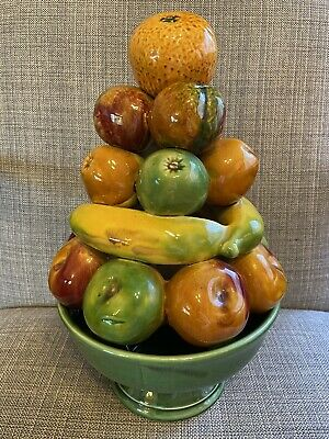 Vintage Large SECLA Pottery Ceramic Fruit Pyramid In Bowl 32cm Portugal Retro • 39.99£