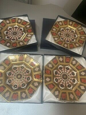 4 X Royal Crown Derby 1st Quality Imari Solid Gold Band Octagonal Plate Boxed • 1,000£