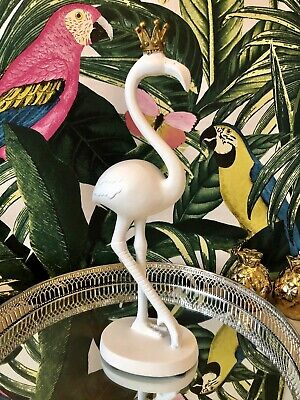 Ceramic Flamingo With Gold Crown Art Deco Style Glam  Drinks Trolley Tray • 8.95£