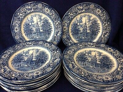 Staffordshire Ironstone Liberty Blue  Independence Hall  Dinner Plates Set Of 24 • 55£