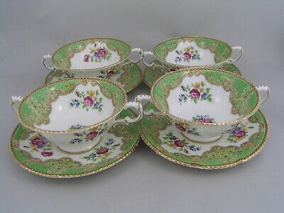 FOUR PARAGON HONITON GREEN SOUP COUPES AND SAUCERS, Slight A/f. • 19.99£