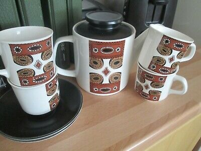 * RARE * Retro Vintage J&G Meakin Maori Teapot & 4 Tea Cups And Saucers  • 9.99£