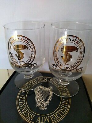 THE GOLDEN JUBILEE OF GUINESS ADVERTISING 2 X GOBLETS/ GLASSES 1929-1979 In Box  • 12£