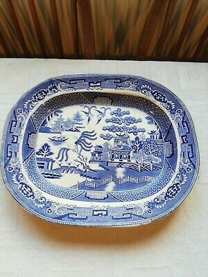 """Antique Blue White Willow Pattern Large Platter Meat Serving Dish. 15"""" • 9£"""