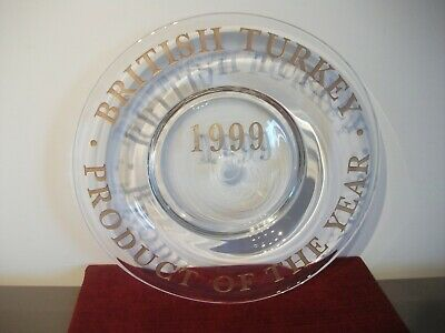 British Turkey ~ Product Of The Year 1999 ~ Large Heavy Glass Dish • 17.95£