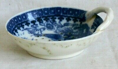 Late C18th Caughley Blue And White Pearlware Egg Strainer In Fisherman Pattern • 25£