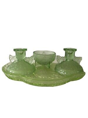 Art Deco SOWERBY GREEN Butterfly Design Lot X 4 Pcs Vanity DRESSING TABLE SET. • 5£