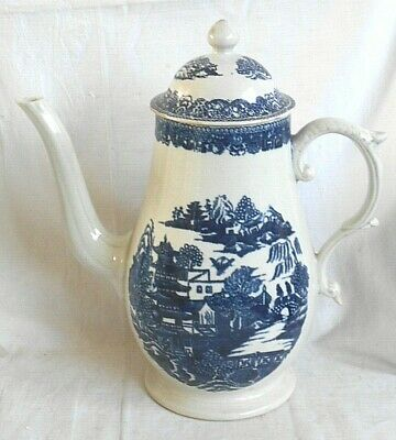 Late C18th Pennington Liverpool Blue And White Coffee Pot With Godden Ref. Label • 50£