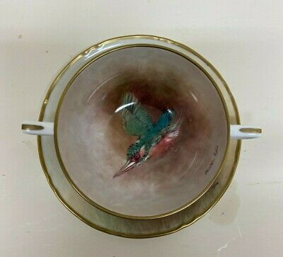 Christopher Hughes Hand Painted Bowl Kingfiher Ex Royal Worcester Artist • 165£