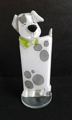 Puppy White Small Fused Glass Gift Home Decor Nobile Glass & Giftware • 8.50£