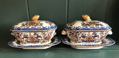 Antique Spode Stone Sauce Tureens, Covers & Stands, C1815 • 20£