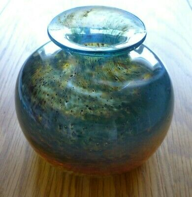 Isle Of Wight Glass-Bulbous Vase-Michael Harris-1970's • 35£
