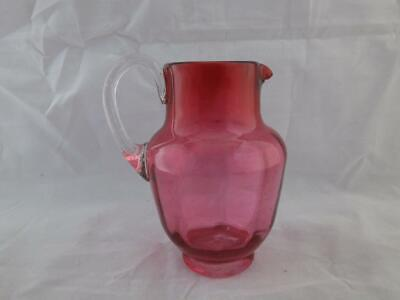 Victorian Cranberry Glass Jug With Clear Handle. • 12.99£