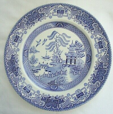 Vintage  Staffordshire Pottery England Blue & White Old Willow Large Plate  • 25£