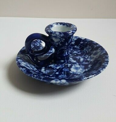 China Blue & White Transferware Floral Wee Willie Winkie Candle Holder • 8£