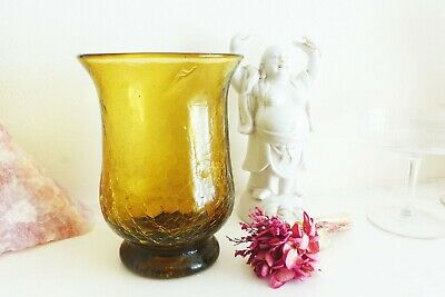 Vintage Crackle Glass Green Vintage Vase, Retro Home Decor • 17£