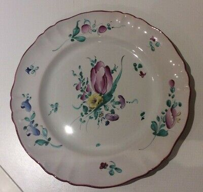 Vintage Tin Glaze Handpainted French Faience Tulip Plate • 9.99£