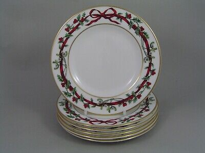 Set Of Six Royal Worcester Holly Ribbons 6 1/4 /16cm Side Plates. • 125£