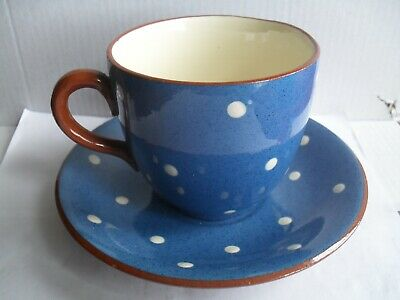 Sandygate Pottery Domino Pattern Blue With White Spots,Cup And Saucer • 5.99£