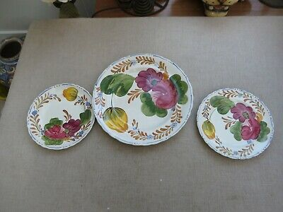 Simpsons Belle Fiore  Dinner Plate & 2 Side Plates  Painted Freehand 1949/1969 • 15£
