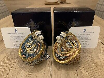Royal Crown Derby - Dragon Of Fortune + Dragon Of Happiness PAIR - New #785/1500 • 100£