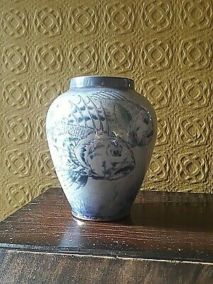 Antique Arts And Crafts Bridgwood And Son Lusture Vase Decorated With Carp C1910 • 9.99£