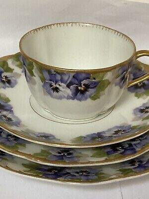Vintage Rosenthal Breakfast Set (c 1905) Pansies With Gold Trim Good Condition • 21.99£