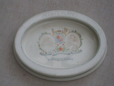 Antique Ceramic Queen Mary & King George Baby's Plate • 7.99£