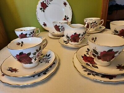 Lovely Vintage Colclough Red Roses Tea Set 6 X Trios & Cake Plate Jug 21 Pieces  • 11.99£