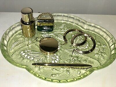 Stunning Sowerby Green Glass Art Deco Butterfly Dressing Table Tray . • 10£