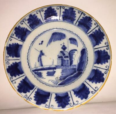 Rare 17th - 18th C English Ming Wanli Style Delft Plate W Ancantus Leaves 1680+ • 219.99£