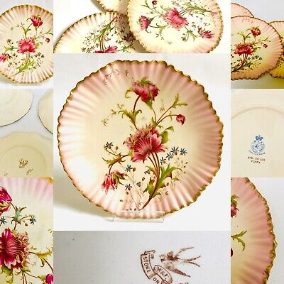 Carltonwarer Pink Dessert Plates - Service Hand Painted Poppies Vintage China  • 175£
