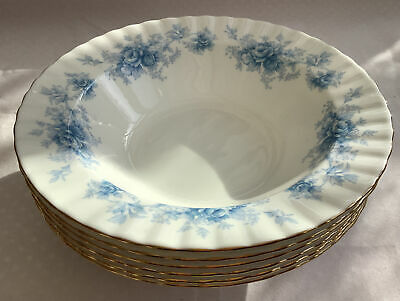 "6 Royal Albert Windsor Rose 7.5"" Soup Fruit Cereal Bowls Blue On White England • 15£"