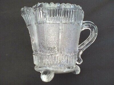 Milk Jug/creamer In Clear Pressed Glass On 3 Feet, Vintage Art Nouveau • 9£
