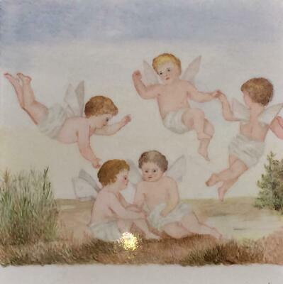 Enchanting Antique Large Hand Painted Tile Or Plaque Of Baby Nymphs C 1900+ • 84.99£