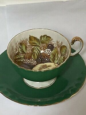 AYNSLEY ORCHARD GOLD CABINET CUP AND SAUCER Good Condition • 12.99£