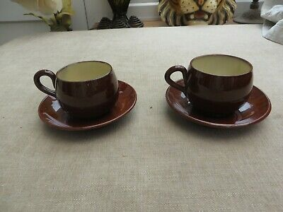 2 Vintage Watcombe Ware Torquay Ware Brown Cups & Saucers Quality  • 10£