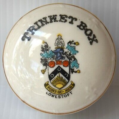 Goss & Crested China: Lowestoft (suffolk) Trinket Box Arcadian, Agent Stamp • 1.59£